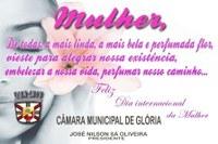 Câmara Municipal de Glória parabeniza funcionárias pelo dia das mulheres.